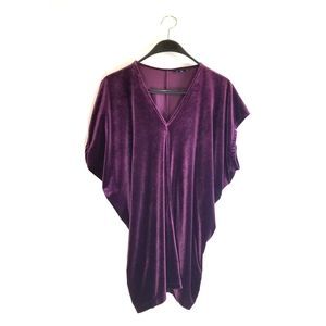 Lands End Purple Velvet Top/Dress sz XL
